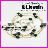 KJL-A0370 tiny round glass quartz blue stone beads necklace, delicate bezel gem stone beads with gold chain necklace