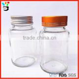 Clear Machine Made Stockable Small & Wide Mouth Medicine Container 100ml Glass Capsule Bottle
