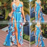Fashion 2016 Summer Lady Long Boho Beach Tank Dress Blue Floral Print Sleeveless Sash Side Slip Maxi Tunic Women Dresses sexy