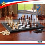 wood backgammon and chess game set with leather