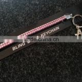 BLING BLING RHINESTONE LANYARD KEYCHAIN L-PINK COLOR STONES WITH CLASP