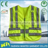 high quality polyester safety reflective vest wholeslae road print vest fluo yellow safety working vest