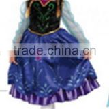2014 Europe and America Hot selling brand new design frozen princess dress elsa&anna cosplay costume girls dress