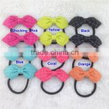 Cotton Hair Bow with Black Elastic Hairband for Baby Girl Hairbad for Children Bow with Ponytail Holder