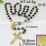 Factory price black seed bead gold cross stainless steel necklace