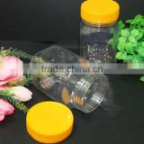 INQUIRY about Small square plastic jar 425ml with yellow screw top lids Malaysia. International shipping!