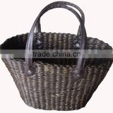 WATER HYACINTH HANDBAG, LEATHER HANDLE HANDBAG