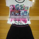 girls shorts pajama set, cotton pajama set with nice silk printing