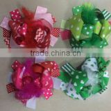 Valentine St.Patrick day 6inch hair bows with feather