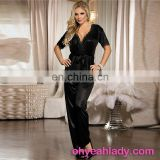 One size wholesale 3 piece nighty satin lingerie