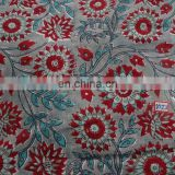 Elegant Red flower Indian Hand Block Print Pure Cotton Fabric Sanganeri Print Running Fabric online Shopping