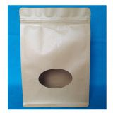 Custom Printing Flat Square Bottom Side Gusset Quad Seal Bags with Brown Kraft Paper Clear Plastic Window Packing Pouch