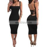 Hot Sale Ladies Bodycon Dress Lace Up Back Midi Bodycon Dress Ultra Cheap Sexy Bodycon Dress