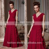New Fashion V-neck Burgundy Chiffon Cheap Evening Dresses