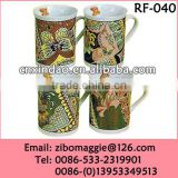 Zibo Made Promotional U Shape Keep Stoneware Coffee Drinking Mug with Good Quality