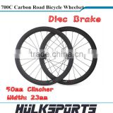 Wholesale Disc Brake Road bicycle wheelset 700c full carbon road bike wheels 50mm Clincher carbon with 23mm width
