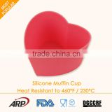 Silicone cake cup Flexible cake decoration Heat resistance Non-stick Odorless heart-Shaped Muffin Cup FDA LFGB DGCCRF