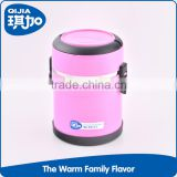 Portable pink food warmer small tiffin carrier stainless steel thermal lunch box with lock