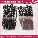 Natural looking human hair weaving closures Malaysian deep curl lace closure 5*5 with good quality