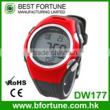 DW177_RD Red color Digital Rubber Chrono, Timer, Alarm ,body fit heart rate monitor watch
