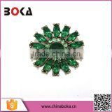 BOKA vintage womens' emerald rhinestone alloy brooch in antique brass color for gifts