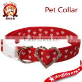 Red and White Heart Dog Collar with Rhinestones,Heat Shape Adjusted Buckle,Nylon Wedding Dog Collar