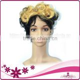 black hair with yellow highlights short kinky curly synthetic wig