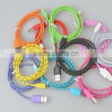 1m Braided Fabric cable/usb to round connector cable for cell phone
