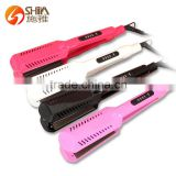 Hot sale led display ptc heater private label flat iron power cord hair straightener 9909