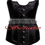 100% Polyester Satin Black Women's Full Steel Boned Corset