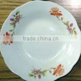daily use white ceramic porcelain fruit plate with cut edge / ceramic fruit plate with flower design