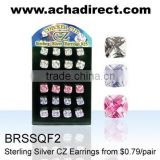 925 silver jewelry, board of sterling silver earrings with CZ,price from US$ 0.79 / pair