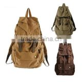 New wholesale Men's Vintage Canvas Leather Hiking Travel Military Backpack Messenger Bag Free Sample
