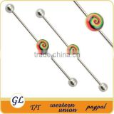 BA01073 lollipop logo fashion industrial barbell earrings , cool industrial body piercing