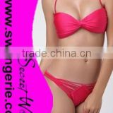 Wrinkle Bikini with Brazilian Bandage Daimond Panty Sexy Fashion Modern Bikini Swimwear NA95-rose