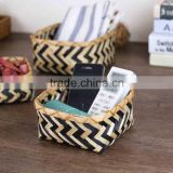 Bamboo woven mini desk storage basket