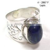 925 Sterling Silver Cabochon Blue Lapis Lazuli Gemstone Ring