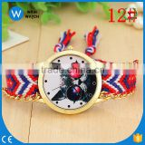 PW040 most popular rope handmade braided wrist cheap dress watch with attractive watch face