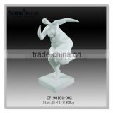 White Painting Abstract fat lady sculpture figurine w base