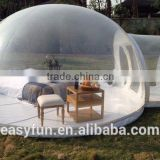Factory price transparent camping lodge inflatable bubble tent with tunnels for rent / sale
