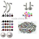 BODY JEWELRY 100PCS. STEEL MIX PIERCING ACCESSORIES