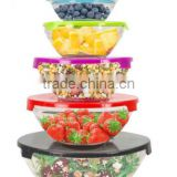 10 Piece Glass Mixing and Storage Bowl Set with Colored Lids
