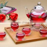 Modern heat resistant double deck clear glass scented tea tea set