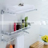 The new space aluminum folding movable towel rack three layer combination hole tray shelf cosmetic storage rack