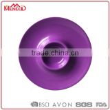 Eco-friendly plastic solid color party used purple melamine customized chip and dip plate