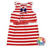 Summer Red White Stripe Sleeveless Baby Top Clothes July 4th National Day Hot Girls Vest