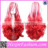 Long Curly White&Red Cosplay Wig Wholesale