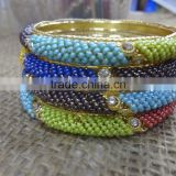 Multicolor Beaded 4 piece Bangle Set,Factory Direct Indian Churi Bracelet,Fashion Bangle Sets