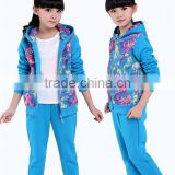wear winter set 2014 new winter girl with lace two piece set thickening of children's sport suit