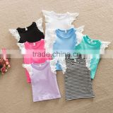 Multi Colors Lace Frill Sleeveless Cotton Wing Baby Girl Vest